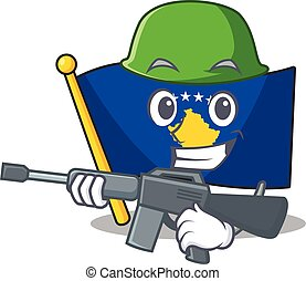 A cartoon style of flag kosovo Army with machine gun