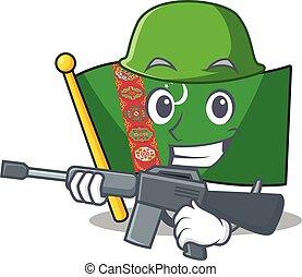 A cartoon style of flag turkmenista Army with machine gun