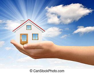 a, casa, em, mãos