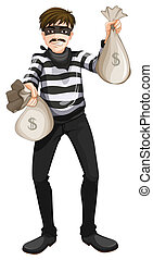 A cash robbery - Illustration of a cash robbery on a white...