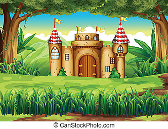 A castle at the forest - Illustration of a castle at the...