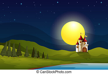 A castle at the hill under a bright moon