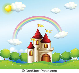 A castle below the rainbow