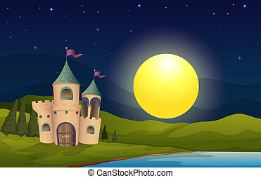 A castle in the middle of the hill - Illustration of a...