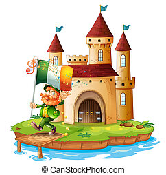 A castle with a man holding the flag of Ireland -...