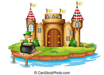 A castle with an old man inside a pot of coins
