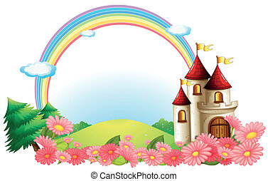A castle with blooming flowers - Illustration of a castle...