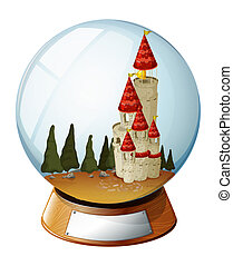 A castle with pine trees inside a crystal ball