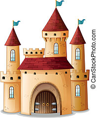 A castle with three blue flags - Illustration of a castle...