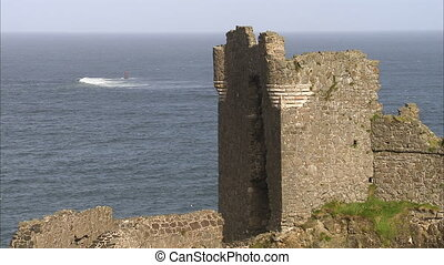 A castle's ruined portion - A steady shot of a ruined part...