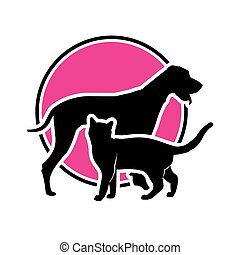 A cat and a dog in the background of a circle. Vector illustration. Black and magenta