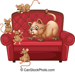 A cat and rats on sofa