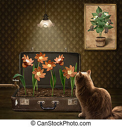 A cat and sausage flowers.