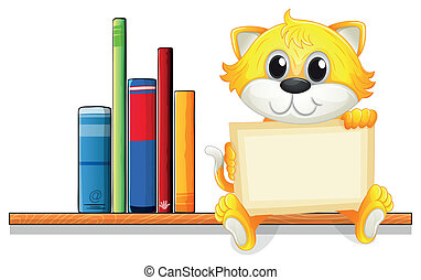 A cat holding an empty board above the wooden shelf with books