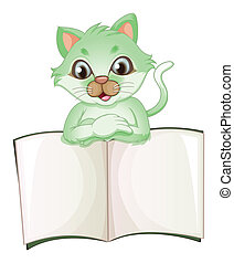 A cat holding an empty book