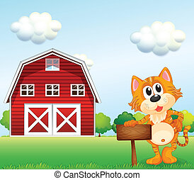 A cat holding an empty signboard with a barn at the side -...