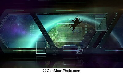 A cat in a spaceship in orbit - Space station in orbit of...