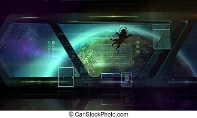 A cat in a spaceship in orbit