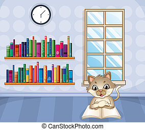 A cat reading a book inside the house - Illustration of a ...
