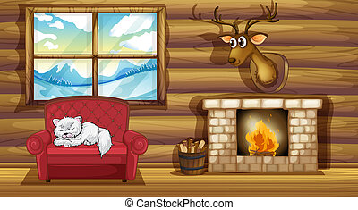 A cat sleeping above the chair near the fireplace