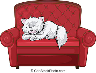 A cat sleeping soundly at the chair