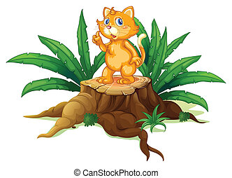 A cat standing on a stump with leaves