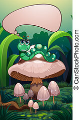 A caterpillar above a mushroom with an empty callout