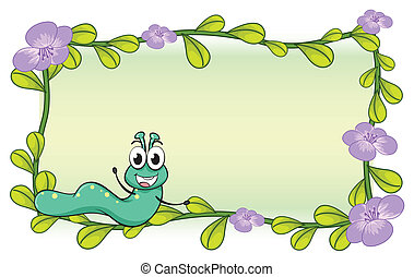 A caterpillar and a flower plant