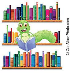 A caterpillar reading a book - Illustration of a caterpillar...