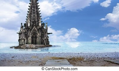A Cathedral half sunk in a sea
