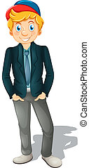 A caucasian businessman on white background