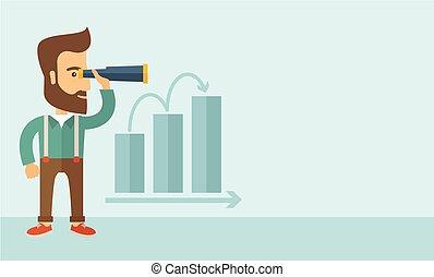Growing business - A Caucasian businessman standing using...