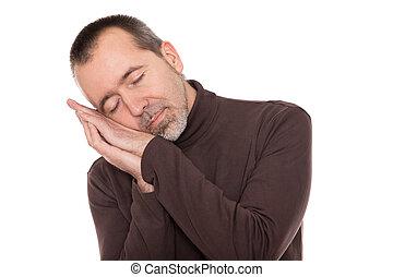 caucasian man is sleeping standing up