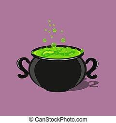 A cauldron with a sorcery potion for Halloween.