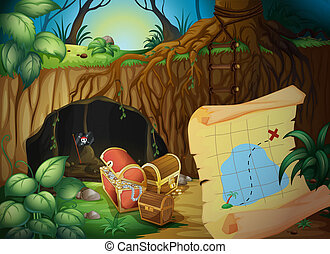 Illustration of a cave, a treasure chest and a map in a beautiful nature
