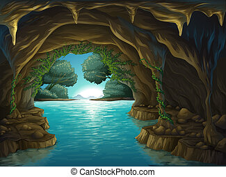 A cave and a water - Illustration of a cave and a water in a...