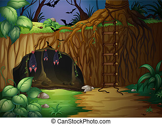 illustration of a cave and bats in a beautiful forest
