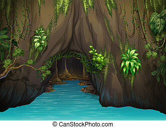 A cave and water - Illustration of a cave and water in a...