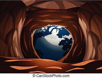 A cave at dark night
