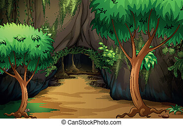 A cave at the forest - Illustration of a cave at the forest