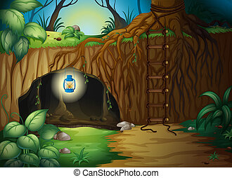 A cave in the jungle - Illustration of a cave in the jungle ...