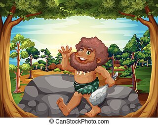 A caveman at the jungle
