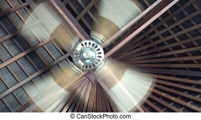 A ceiling fan is a mechanical fan mounted on the ceiling of a room or space, usually electrically powered, suspended from the ceiling of a room, that uses hub-mounted rotating blades to circulate air