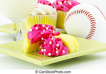 A Celebration with Cupcakes and Milk After the Game