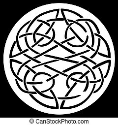 A celtic knot and pattern in a circle design, inside a black...