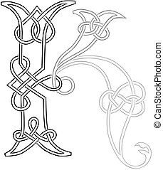 Celtic Knot-work Capital Letter K - A Celtic Knot-work...
