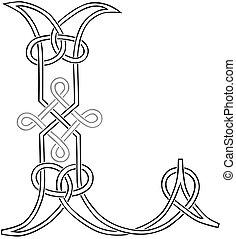 Celtic Knot-work Capital Letter L - A Celtic Knot-work...