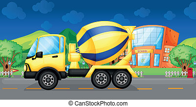 A cement truck running in the street