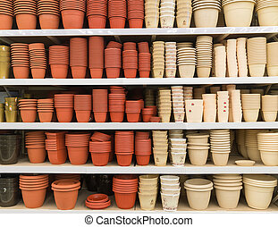 Ceramic flower pots at the shop
