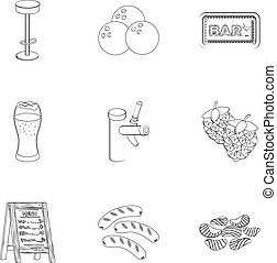 A chair, a beer, a sign, items for a pub.Pub set collection icons in outline style vector symbol stock illustration web.